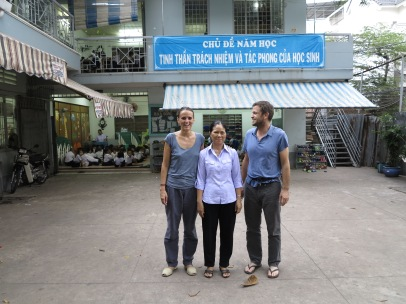 Maria and Vincent in Ben Trieuh school, Ho Chi Minh, Vietnam